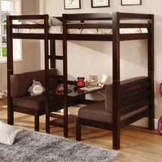 Coaster Twin over Twin Convertible Loft Bunk Bed in Dark Wood Finish Bunk Bed With Futon - Elites Home Decor Futon Bunk Bed, Loft Bunk Beds, Bunk Bed With Desk, Modern Bunk Beds, Bunk Beds With Stairs, Kids Bunk Beds, Modern Loft, Futon Couch, Modern Kids