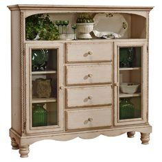 Wilshire Cabinet in Antiqued White