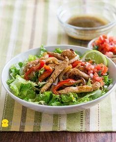 Healthy Chicken Fajitas Salad Recipe with Cumin Lime Dressing
