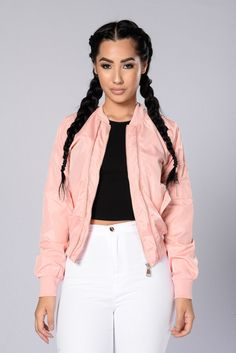 - Available In Black, Olive, And Pink - Front Zipper Closure - Side Pockets with Snap Button - Ribbed - Exposed Zipper Details - 100% Polyester