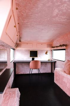 Before and After: This Normal Camper Transforms Into a Muraled Music Studio with Furry Pink Walls - Top-Trends Mobile Recording Studio, Recording Booth, Home Studio Musik, Small Girls Bedrooms, Music Studio Decor, Airstream Interior, Vintage Airstream, Pink Music, Studio Apartment