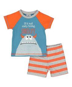 Look at this #zulilyfind! Blue & Orange Raglan Tee & Stripe Pants - Infant #zulilyfinds