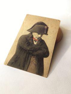 Antique Napoleon velvet collage postcard 1916, antique postcard, napoleone buonaparte, handmade postcard di Quieora su Etsy