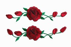$4 #3965R Lot 2 Pcs Red Rose Flower Embroidery Iron On Applique Patch #Unbranded