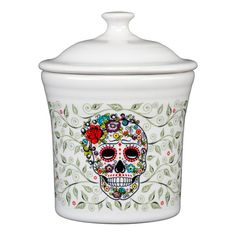 Add spooky themes and iconic Fiesta style to your holiday table with the Fiesta Halloween Sugar Skull Dinnerware Collection. Each piece features a creepy and colorful skull design, and is perfect to mix and match for a fun, hair-raising season.