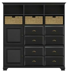 Howard Miller 930-001PS001J Ty Pennington Holly Personal Storage Cabinet by Howard Miller. $2987.00. Howard Miller 930-001PS001J -Personal Storage Cabinet. -Select hardwood and veneers, with antique brass hardware. -Hardware: knobs on doors and cup pulls on drawers. -Available in several finishes. -Two doors with plain glass and four doors with inset panels. -One cross storage shelf with four woven baskets. -Six adjustable interior shelves. -Cove profile top and ogee profil...