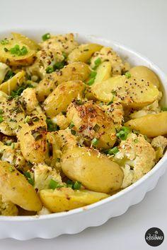 młode ziemniaki i kalafior w sosie musztardowym