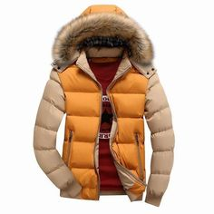 Mens Thick Warm Coat Color Splicing Detachable Hooded Puffer Jacket at Banggood