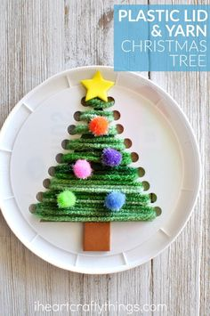 This plastic lid Christmas tree sewing craft is festive, cute and is awesome for a fine motor activity for kids. Fun Christmas craft for kids, Christmas tree craft, sewing craft for kids and winter kids craft.Christmas Tree make ourselves - RelaxwomanChri Christmas Crafts For Kids To Make, Christmas Tree Crafts, Preschool Christmas, Christmas Activities, Christmas Projects, Kids Christmas, Holiday Crafts, Christmas Decorations, Christmas Ornaments