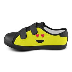 Emoticon Heart Smiley Velcro Canvas Kid's Shoes by #Gravityx9 at Artsadd - #kidsshoes #emoticon #emoticonshoes #emoji #emojiparty #smileyworld #hearteyes