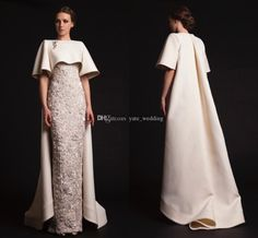 Two Pieces 2015 Spring Evening Dresses Sweetheart Short Sleeves Lace Satin Sheath Champagne Prom Dresses Luxury Krikor Jabotian Formal Gowns from Yate_wedding,$202.86 | DHgate.com