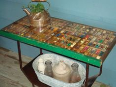 Old printer's storage box turned into a table & stores precious memories!