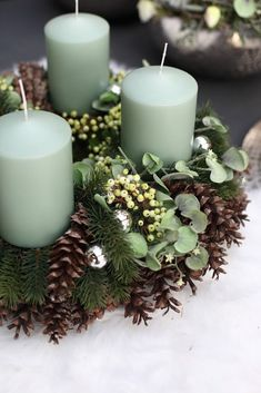 Christmas Arrangement Ideas 2016 Part 1 specialist wholesaler of floristry supplies decoration & home accessories Centerpiece Christmas, Christmas Advent Wreath, Christmas Arrangements, Christmas Candles, Xmas Decorations, Winter Christmas, Christmas Holidays, Christmas Crafts, Christmas Ideas