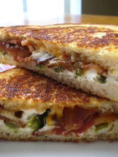 Jalapeno Popper Grilled Cheese - mix cream cheese, chopped Jalapeños and  bacon together and grill sandwich