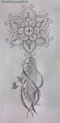 Diseño de bast Atrapasueños, Mándalas En ZonaTattoos, tu web de tatuajes Atrapasueños Tattoo, Paar Tattoo, Body Art Tattoos, Tattoo Drawings, Art Drawings, Tatoos, Feather Tattoos, Flower Tattoos, Drawing Sketches