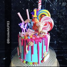 My Little Pony Drip Cake with lolly pops