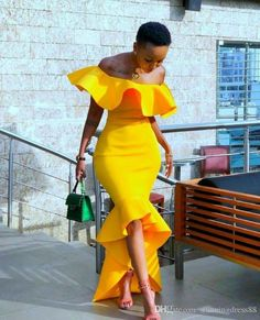 Stunning Yellow Saudi Arabic Mermaid Evening Prom Dress For Black Women Girls Off The Shoulder High Low Mermaid Satin Party Cocktail Dress Evening Dresses Long Sleeves Evening Dresses Online Shop From Stunningdress88, $72.37| DHgate.Com