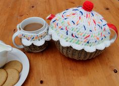Handmade Crochet Teapot & Cup Mug Cozy Cover Warmer Set Cherry Cupcake Cup Cake Muffin SAVE 20% by JoolsBusyBobbins on Etsy https://www.etsy.com/listing/207355030/handmade-crochet-teapot-cup-mug-cozy