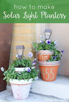 Add some height and light to your planters with these easy DIY Solar Light Planters. Get the full tutorial in this post. Add some height and light to your flower pots with these easy DIY Solar Light Planters. Get the full tutorial in this post. Diy Solar, Solar Light Crafts, Solar Lamp, Solar Lights, Clay Flower Pots, Flower Pot Crafts, Clay Pot Crafts, Clay Pots, Clay Planter