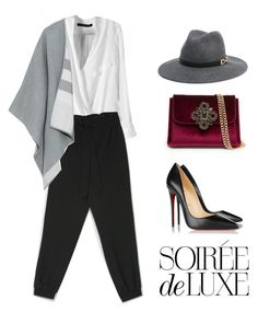 """""""Soirée de Luxe with bebe Holiday: Contest Entry"""" by xelenatrx ❤ liked on Polyvore featuring moda, Bebe, Burberry y Christian Louboutin"""