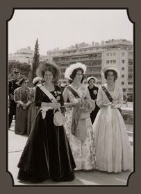Queen Frederika of Greece with her daughters Princess Sophia (later Queen Sofia of Spain) and Princess Irene. Princess Sophia, Princess Estelle, Princess Margaret, Greek Royalty, Spanish Royalty, King George I, Royal Video, Greek Royal Family, Grand Duchess Olga