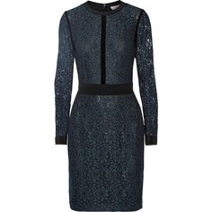 DAY Birger et Mikkelsen Velvet and silk crepe-trimmed corded lace... (2.526.515 IDR) ❤ liked on Polyvore featuring dresses, blue, blue velvet dress, blue lace cocktail dress, lacy dress, fitted dresses and blue fitted dress