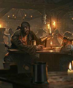 m Rogue Thief Pirate Seafight: Pirate Tavern - by Grzegorz Rutkowski. Fantasy Rpg, Medieval Fantasy, Fantasy World, Dark Fantasy, Warhammer Fantasy, Fantasy Inspiration, Story Inspiration, Character Inspiration, Character Art