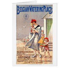 #Belgium Ostende Vintage Travel Poster Restored Card - #beach #travel #beachlife