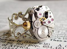 Steampunk Ring watch movement Vintage Elgin by InsomniaStudios