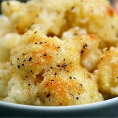 Cauliflower Gratin with Parmesan and Nutmeg...a warm, rich, cheesy, gooey comfort food you can't wait to dig into.