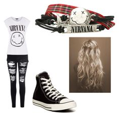 """""""Nirvana"""" by emily-carlson-nanibush ❤ liked on Polyvore featuring Glamorous and Converse"""
