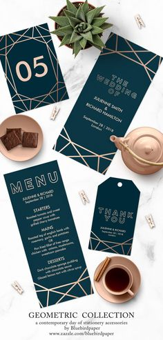 A modern and contemporary geometric wedding day of stationery, features a gold rose geometric pattern over a dark turquoise background. This set will be perfect for any modern winter wedding