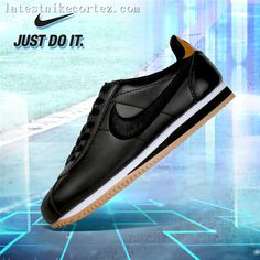 new product 7e1e5 1d027 2017 Nike Classic Cortez Leather And EM Womens Jogging Shoes Black White  Brown Nike Classic Cortez