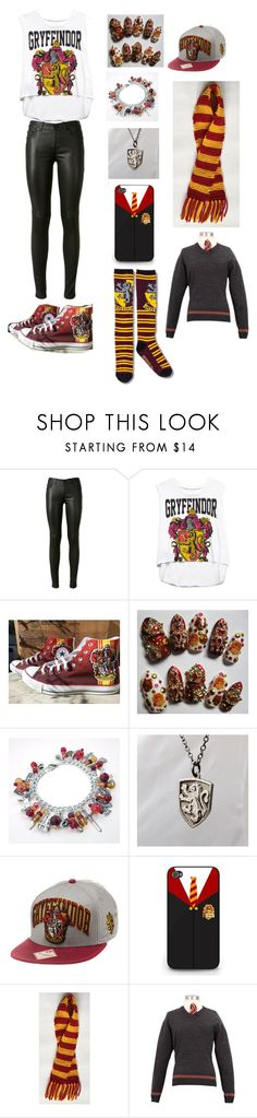"""""""Gryffindor"""" by annashishlo ❤ liked on Polyvore featuring Yves Saint Laurent, Forever 21 and Converse"""