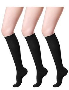 Women's Casual Socks - HASLRA Womens Knee High Socks 1  3 Pairs >>> You can find more details by visiting the image link. (This is an Amazon affiliate link) Best Amazon, Amazon Deals, Amazon Tribe, Discount Shopping, Discount Deals, Black Socks, Designer Socks, Knee High Socks, Women's Socks & Hosiery