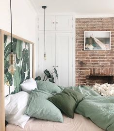 Another angle from dreamy bedroom! Our sage green bedding styled to perfection. Have a great weekend everyone! Sage Green Bedroom, Green Bedding, Green Bed Linen, Room Ideas Bedroom, Home Decor Bedroom, Green Bedroom Decor, Modern Bedroom, My New Room, House Rooms