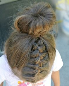 French Braid and Sock Bun - Click image to find more  Pinterest pins