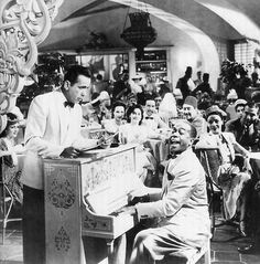 """Casablanca"" showing Humphrey Bogart listening while Dooley Wilson, as Sam, plays it Great Films, Good Movies, Casablanca Film, Modern Philosophers, Play It Again Sam, Jazz, Bogie And Bacall, Coping With Loss, Mood Of The Day"