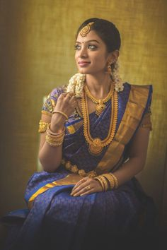 South Indian Bride Looking Stunning in a Royal Blue Kanchipuram Silk Saree Blue Silk Saree, Bridal Silk Saree, Silk Sarees, South Indian Bridal Jewellery, Indian Jewelry, Kerala Bride, South Indian Sarees, Indian Wedding Photography, Business Outfit