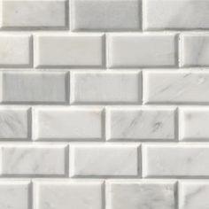 MSI Greecian White Beveled 12 in. x 12 in. x 10 mm Polished Marble Mesh-Mounted Mosaic Tile sq. - The Home Depot Mosaic Wall Tiles, Marble Mosaic, Honed Marble, Shower Backsplash, Kitchen Backsplash, Backsplash Ideas, Tile Ideas, Thing 1, Modern Farmhouse Kitchens