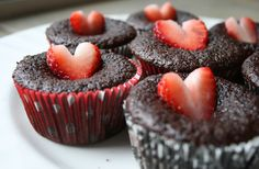 Chocolate Cupcakes with Strawberry Hearts