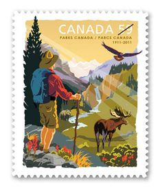 This stamp issue celebrates the anniversary of Parks Canada - the world's first national parks service. Postage Stamp Design, Postage Stamps, Timbre Canada, Parcs Canada, Canada Post, Canada Eh, Commemorative Stamps, Love Stamps, Thinking Day