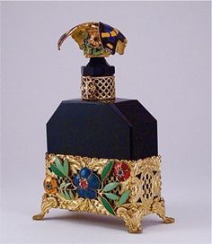 1920s Hoffmann Czech Black Perfume Bottle