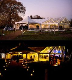 Pretty wedding tent with fairy lights across the roof and coloured uplighting in Nutley, East Sussex. Marquee Wedding, Tent Wedding, Marquee Lights, East Sussex, Fairy Lights, Lighting Ideas, Dusk, Light Up, Wedding Ideas
