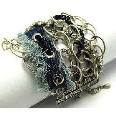 Shonna's Silver Rhinestone, Zipper & Denim Bracelet - Final Sale