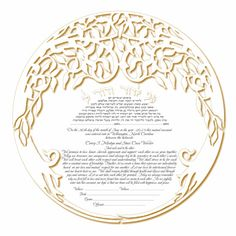 ketubah art print personalization included (Double Tree white)