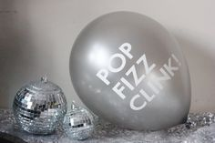 3 POP FIZZ CLINK Balloon Balloons Silver Gold Pink Aqua Blue Champagne Wedding Bridal Shower Anniversary Engagement New Years Party Decor