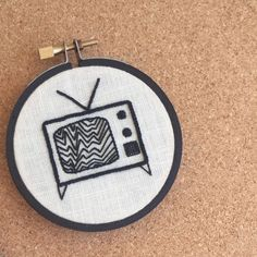 """Tune Out"" Hoop Art • Embroidered Retro TV • Embroidery Wall Hanging / Home Decor 4"" Frame by loudmouthmarket on Etsy https://www.etsy.com/listing/462510804/hoop-art-tune-out-embroidered-retro-tv"