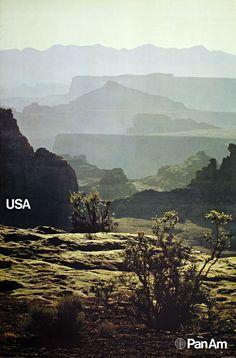 Pan Am's USA #graphic #design #landscape #vintage #advertising #travel