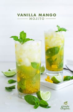 Muddled mango, mint and vanilla bean transform your traditional mojito to a tropical sensation. Try the recipe! | via Simply Organic